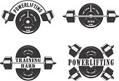 Vector illustration, Icons for the gym and powerlifting, on a white background,