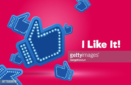 Icons like social network are falling down. Hand, big finger up on pink background. I like it! : stock vector