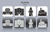 Landmarks of Austria. Set of monochrome icons. Editable vector illustration.