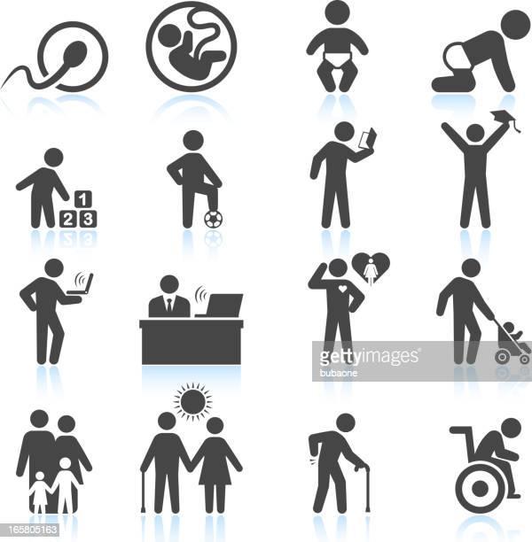 Symbole des Lebens von der Empfängnis bis ins hohe Alter