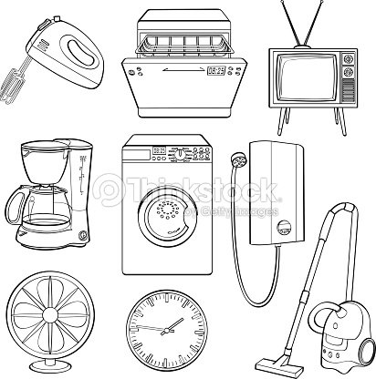Icons Of Popular Home Electric Appliances Vector Art