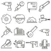 Icons on the theme of construction supplies, on white background