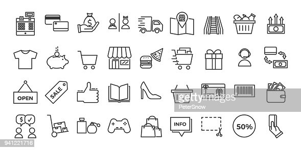 Icons related with commerce, shops, shopping malls, retail. Vector illustration thin line design set : stock vector