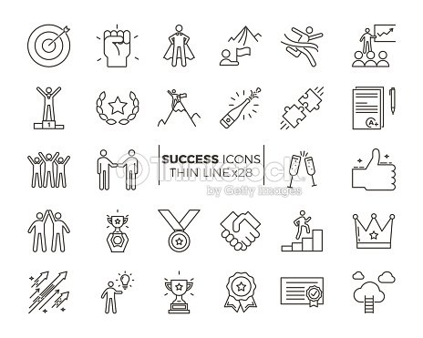 Icons related with success, motivation, willpower, leadership, determination and growth. Vector pictogram thematic set. Objects and dynamic character actions : stock vector