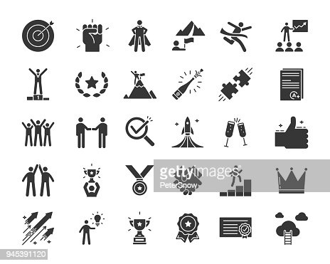Icons related with success, motivation, willpower, leadership, determination, effectiveness and growth. Vector pictogram thematic set in glyph style. Objects and dynamic character actions : stock vector