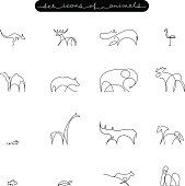 vector set of of animals icons, hand-painted continuous contour