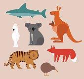 Icons set of vector animals isolated on beige background. Vector illustration of cute animal set including kangaroo, fox, cockatoo, tiger,shark, kiwi, and koala.