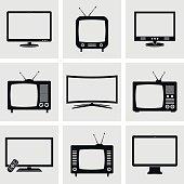 Modern and retro TV icons set. Vector illustration.