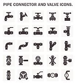 Pipe connector and valve icons.
