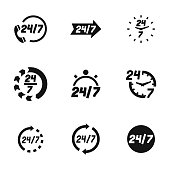 24/7 vector icons. Simple illustration set of 24/7  elements, editable icons, can be used in logo, UI and web design