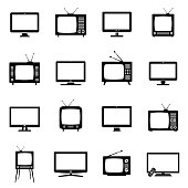 Modern and Retro TV icons. Vector illustration.