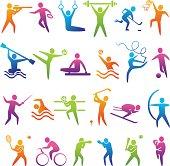 Set of sports icons: basketball, soccer, hockey, tennis, skiing, boxing, wrestling, cycling, golf, baseball, gymnastics, shooting, rugby, gymnastics, American football, power lifting, kayaking, canoei