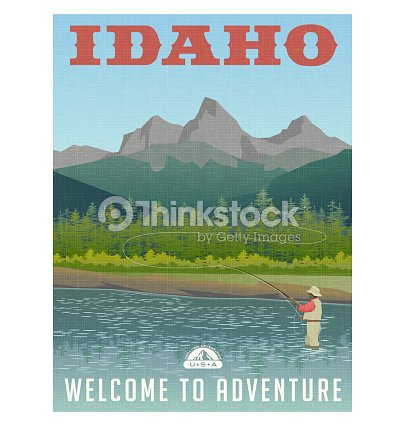 Idaho, United States travel poster or sticker. Fly fishing in mountain stream. : stock vector