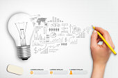 Light bulb with plan strategy idea in vector format