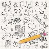 Idea concept with pencil and doodle sketches. Infographic icons. Business doodles set. Vector illustration