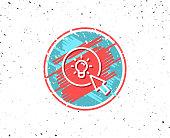 Grunge button with symbol. Idea lamp line icon. Mouse cursor sign. Light bulb symbol. Random background. Vector
