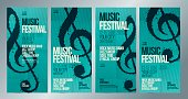 Set of templates with poster or leaflet for music event. Treble clef illustration. Vector.
