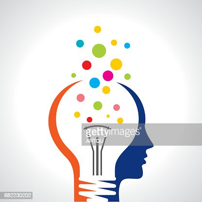 idea solution bulb human man head brain concept illustration art : Vector Art