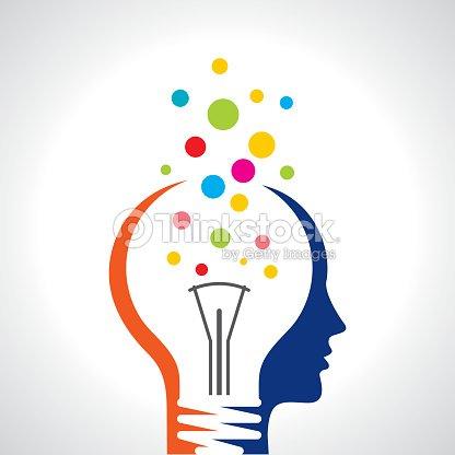 cabeza de hombre humano de bombilla de idea solución conceptual de la ilustración del cerebro : arte vectorial