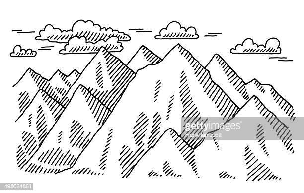 Encantador paisaje de montaña de dibujo