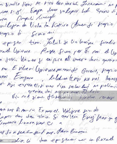 Illegible blue handwritten scribble on white paper