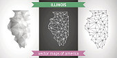 Illinois grey and silver vector triangle design perspective polygonal map