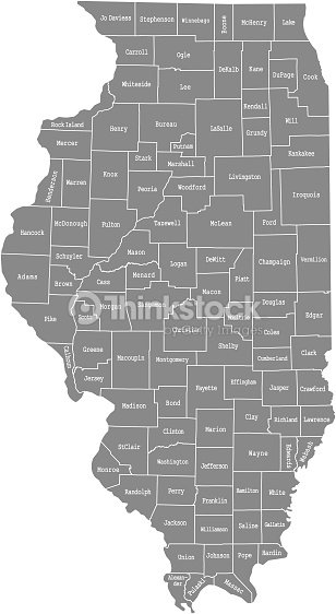 Illinois County Map Vector Outline Illustration With Counties Names - Illinois-in-us-map