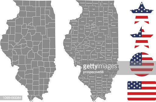 United States Map With County Names.Illinois County Map Vector Outline In Gray Background Illinois State