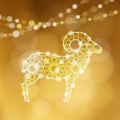 Greeting card with silhouette of ornamental sheep illuminated by lights. Golden vector illustration background for Eid Ul Adha muslim holiday. Eid Mubarak invitation.