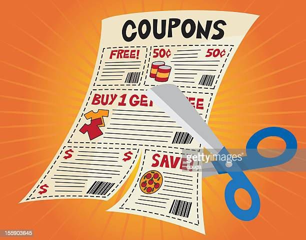 Illustrated coupon page with scissors clipping