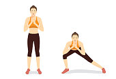 llustrated exercise guide by healthy woman doing Side Lunges Workout in 2 steps for firming buttocks and legs.