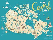 Illustrated map of Canada. Travel map. Vector illustration