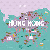 Illustrated map of Hong Kong with cities and landmarks. Editable vector illustration