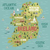 Illustrated map of Ireland with nature and landmarks. Editable vector illustration