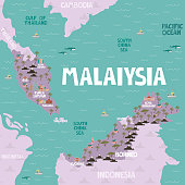 Illustrated map of Malaisia with cities and landmarks. Editable vector illustration