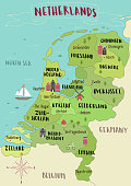 Illustrated map of Netherlands vector hand-drawn illustration