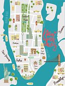 Illustrated map of New York city. Travel map. Vector illustration