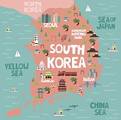 Illustrated map of South Korea with nature and landmarks. Editable vector illustration