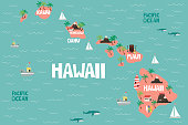 Illustrated map of the state of Hawaii in United States with cities and landmarks. Editable vector illustration