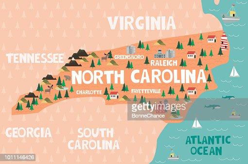 United States Map North Carolina.Illustrated Map Of The State Of North Carolina In United States