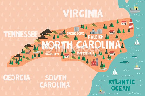Illustrated Map Of The State Of North Carolina In United States ...