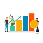 Illustrated people with success business growth