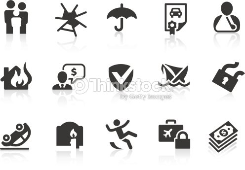 Illustrated Set Of 15 Insurancerelated Icons stock vector