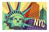 illustrated travel poster of NYC and Statue of Liberty. Vector illustration.