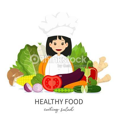 Lindo Personaje De Chef Ilustración Muchacha Sugieren Alimentos