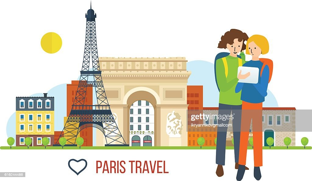 Illustration concept - a trip to France, love  city. : Vector Art