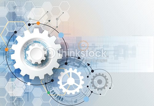 Illustration gear wheel and circuit board, technology and engineering background