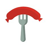 illustration icon for sausage and fork