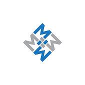 Illustration letter M vector shapes square for community. Creative letter M. Vector illustration EPS.8 EPS.10