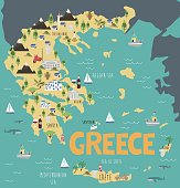 Illustration map of Greece with nature, animals and landmarks. Editable Vector illustration